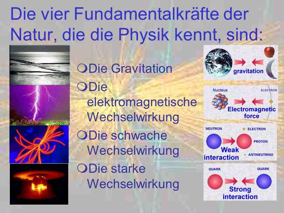 Die vier Fundamentalkräfte der Natur, die die Physik kennt, sind: Die Gravitation Die elektromagnetische Wechselwirkung Die schwache Wechselwirkung Di