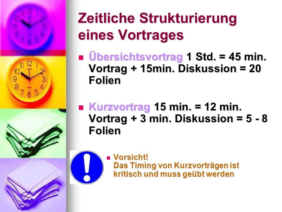 Zeitliche Strukturierung eines Vortrages Übersichtsvortrag 1 Std. = 45 min. Vortrag + 15min. Diskussion = 20 Folien Übersichtsvortrag 1 Std. = 45 min.