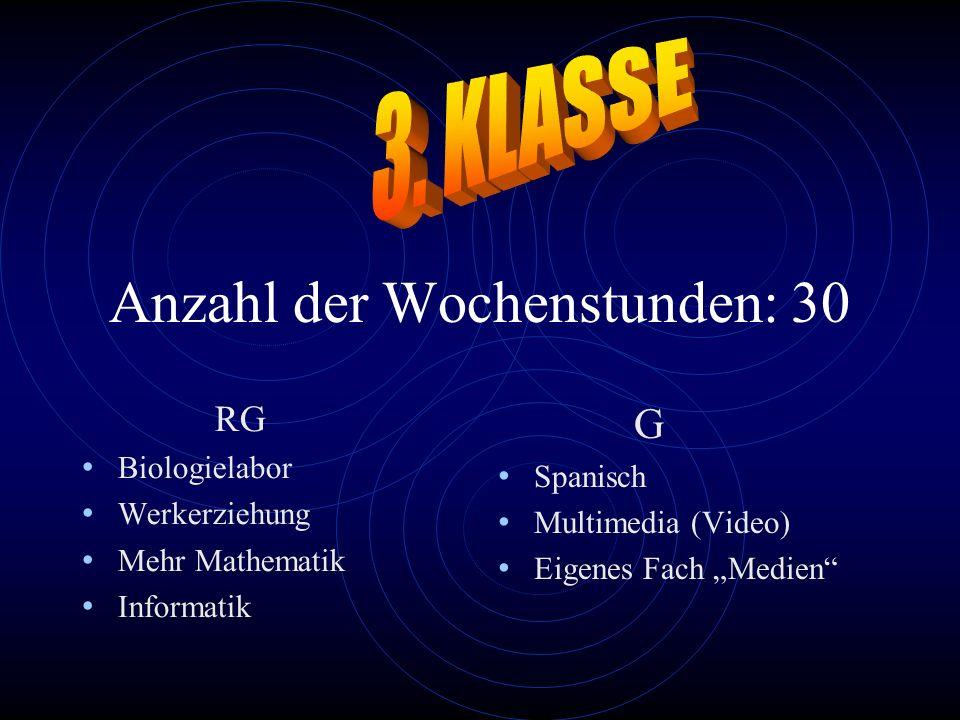 Anzahl der Wochenstunden: 30 RG Biologielabor Werkerziehung Mehr Mathematik Informatik G Spanisch Multimedia (Video) Eigenes Fach Medien