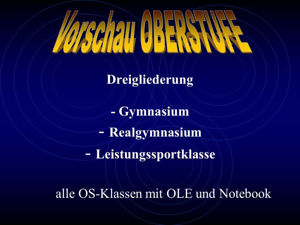 Dreigliederung - Gymnasium - Realgymnasium - Leistungssportklasse alle OS-Klassen mit OLE und Notebook