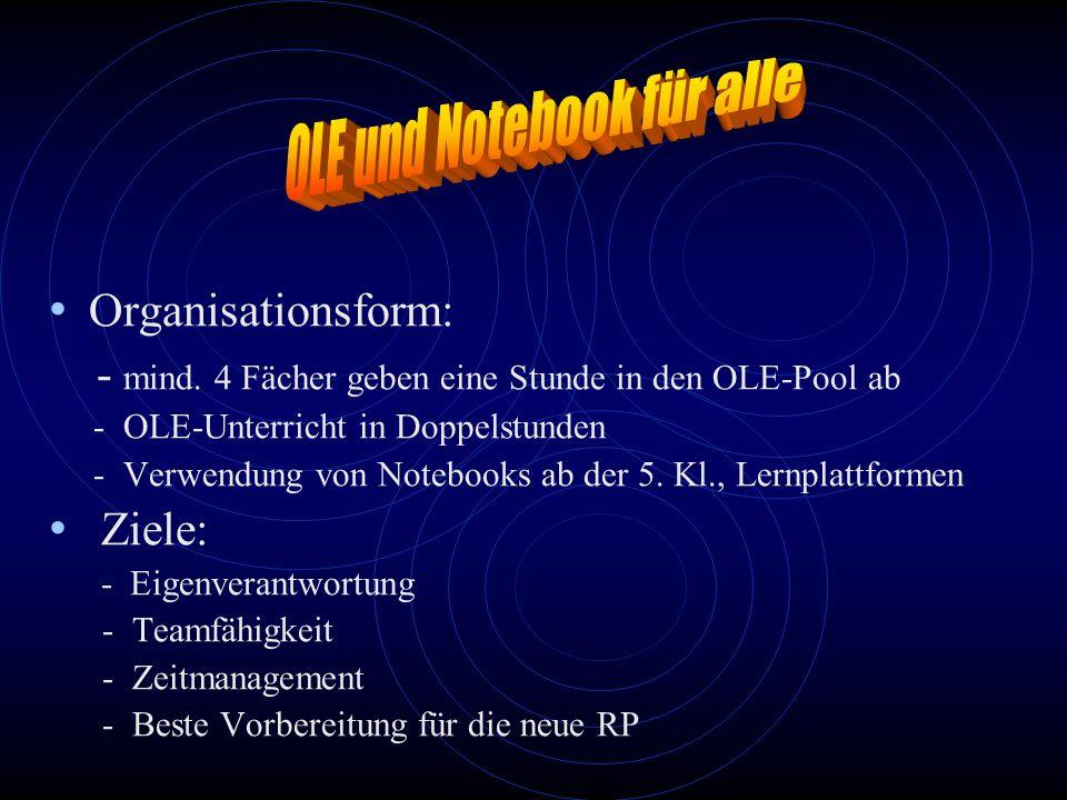 Organisationsform: - mind. 4 Fächer geben eine Stunde in den OLE-Pool ab - OLE-Unterricht in Doppelstunden - Verwendung von Notebooks ab der 5. Kl., L