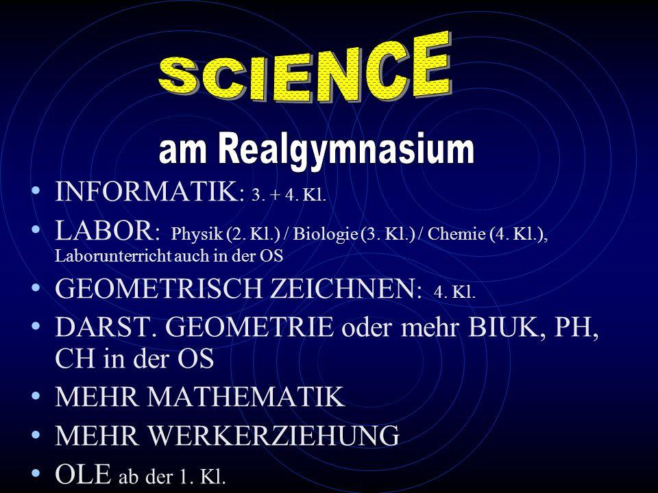INFORMATIK : 3. + 4. Kl. LABOR : Physik (2. Kl.) / Biologie (3. Kl.) / Chemie (4. Kl.), Laborunterricht auch in der OS GEOMETRISCH ZEICHNEN : 4. Kl. D