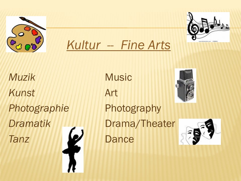 Kultur -- Fine Arts MuzikMusic KunstArt PhotographiePhotography DramatikDrama/Theater TanzDance