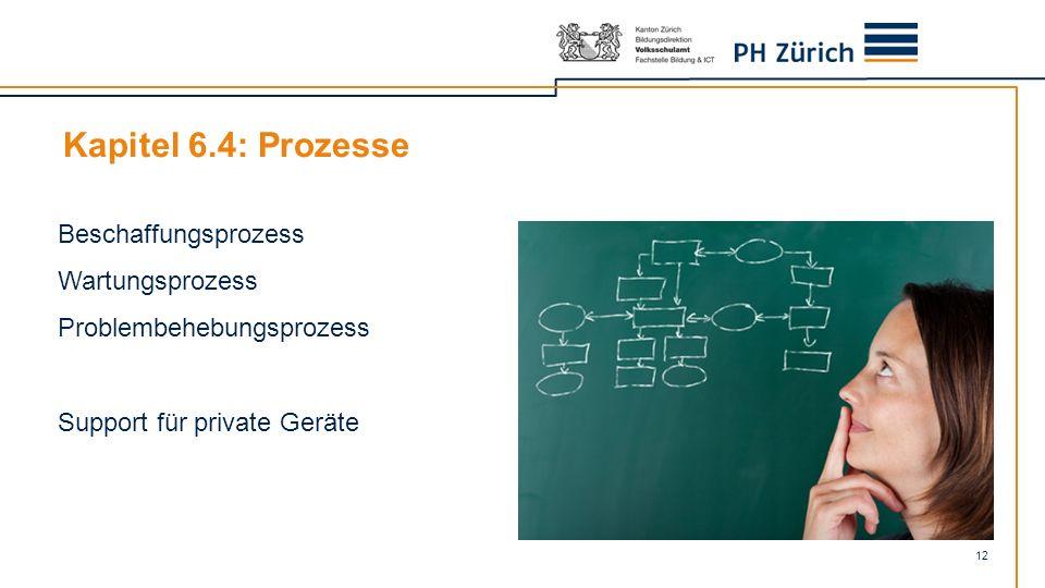 12 Beschaffungsprozess Wartungsprozess Problembehebungsprozess Support für private Geräte Kapitel 6.4: Prozesse
