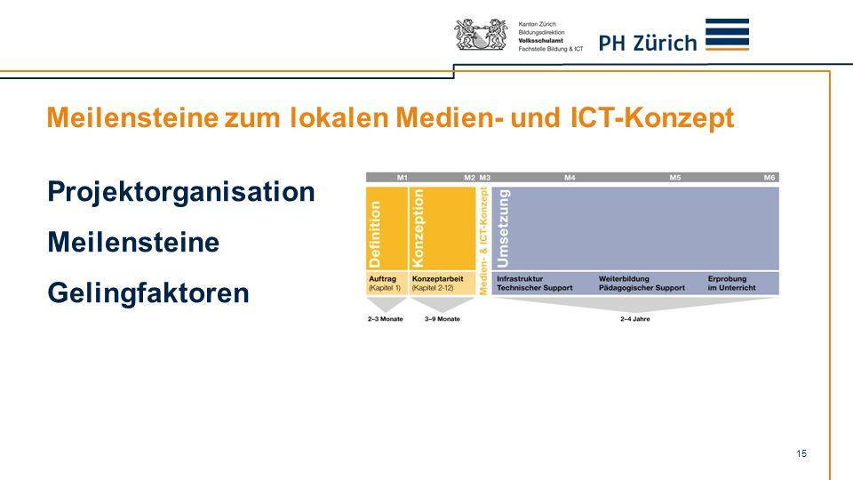 Meilensteine zum lokalen Medien- und ICT-Konzept 15 Projektorganisation Meilensteine Gelingfaktoren