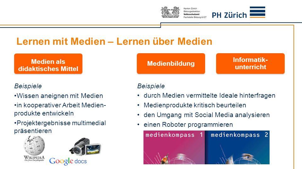 Lernen mit Medien – Lernen über Medien Beispiele Wissen aneignen mit Medien in kooperativer Arbeit Medien- produkte entwickeln Projektergebnisse multi