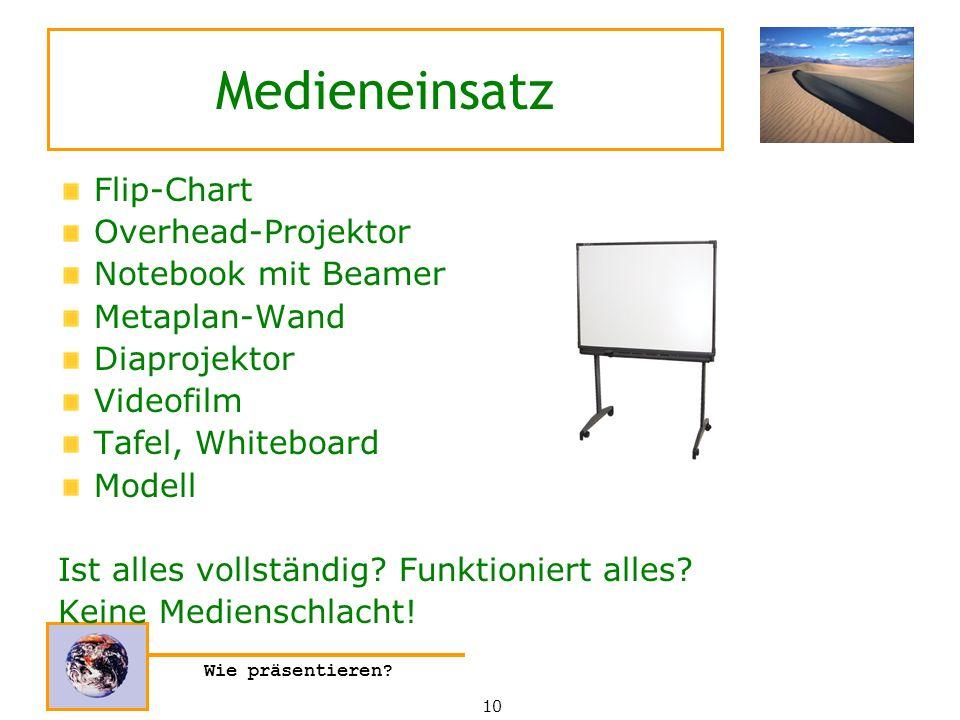 Wie präsentieren? Medieneinsatz Flip-Chart Overhead-Projektor Notebook mit Beamer Metaplan-Wand Diaprojektor Videofilm Tafel, Whiteboard Modell Ist al