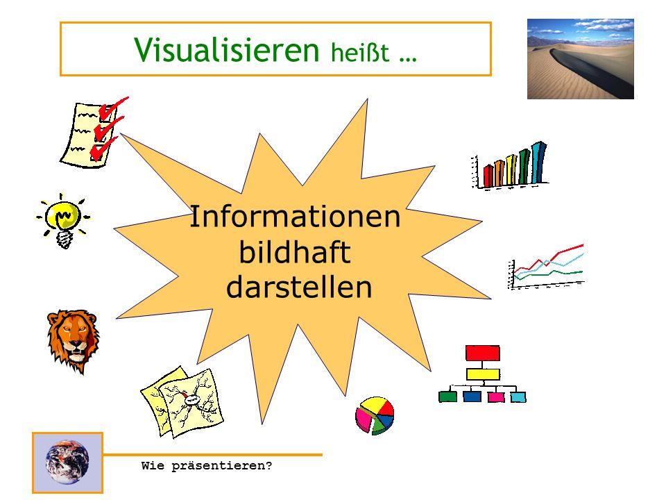 Wie präsentieren? Informationen bildhaft darstellen Visualisieren heißt …