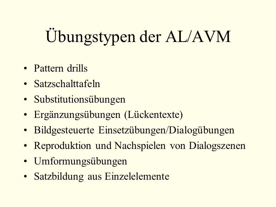 Übungstypen der AL/AVM Pattern drills Satzschalttafeln Substitutionsübungen Ergänzungsübungen (Lückentexte) Bildgesteuerte Einsetzübungen/Dialogübungen Reproduktion und Nachspielen von Dialogszenen Umformungsübungen Satzbildung aus Einzelelemente