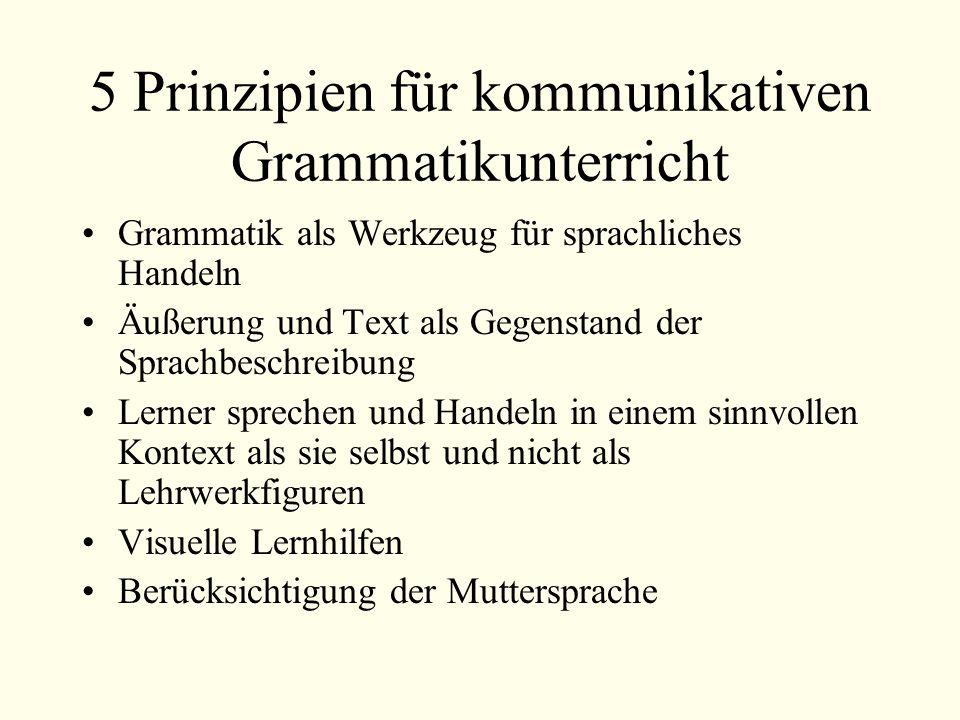 5 Prinzipien für kommunikativen Grammatikunterricht Grammatik als Werkzeug für sprachliches Handeln Äußerung und Text als Gegenstand der Sprachbeschreibung Lerner sprechen und Handeln in einem sinnvollen Kontext als sie selbst und nicht als Lehrwerkfiguren Visuelle Lernhilfen Berücksichtigung der Muttersprache
