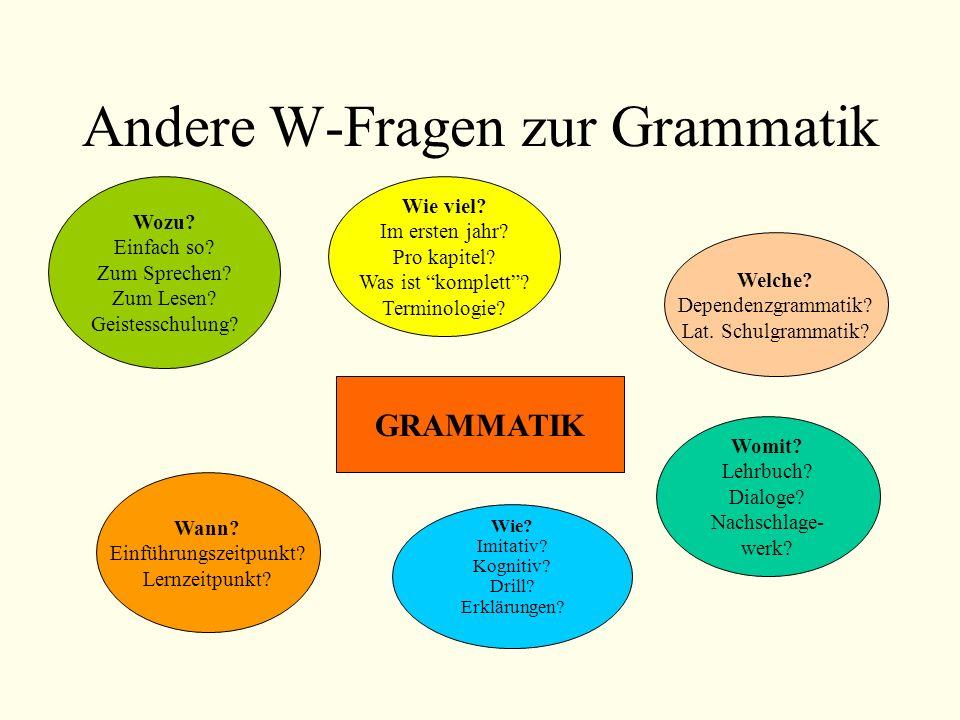 Andere W-Fragen zur Grammatik Wozu? Einfach so? Zum Sprechen? Zum Lesen? Geistesschulung? Wie viel? Im ersten jahr? Pro kapitel? Was ist komplett? Ter