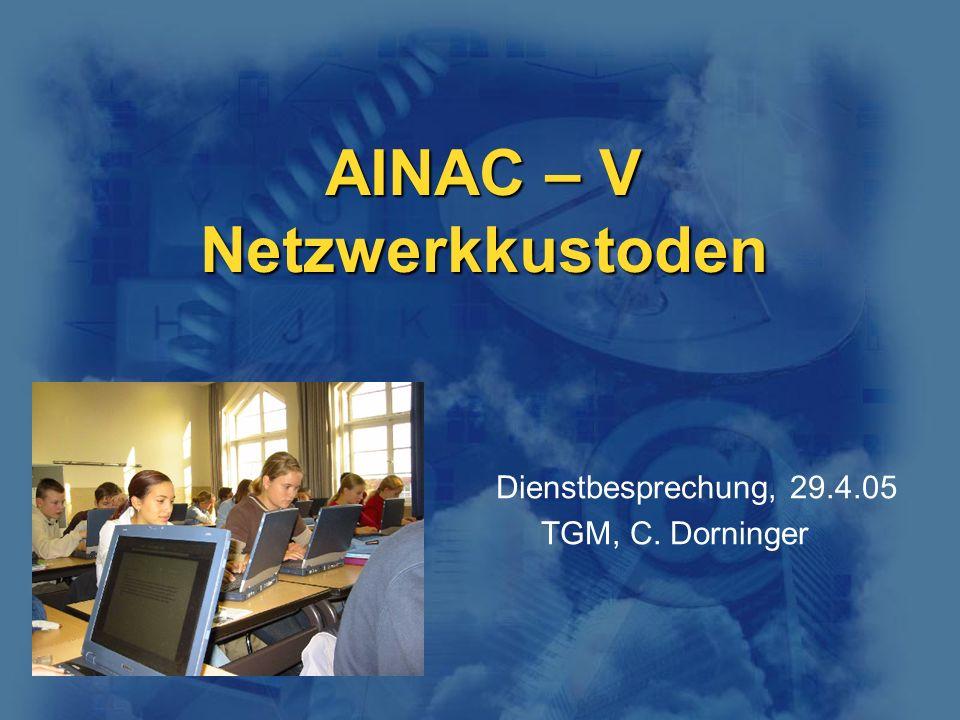 AINAC – V Netzwerkkustoden Dienstbesprechung, 29.4.05 TGM, C. Dorninger