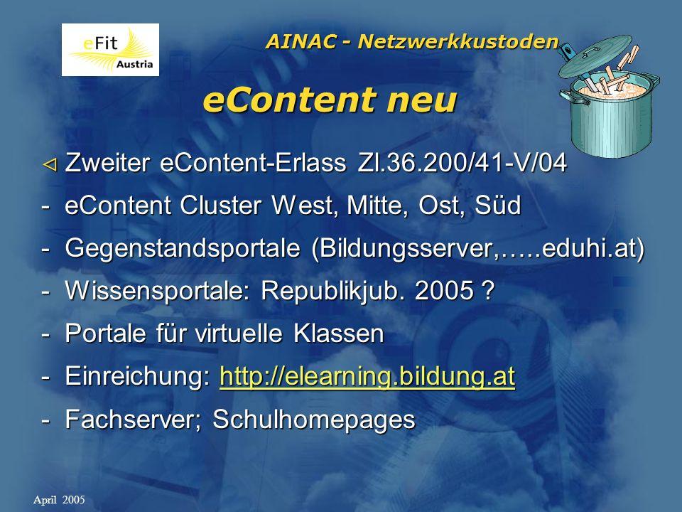 AINAC - Netzwerkkustoden April 2005 eContent neu Zweiter eContent-Erlass Zl.36.200/41-V/04 Zweiter eContent-Erlass Zl.36.200/41-V/04 - eContent Cluster West, Mitte, Ost, Süd - Gegenstandsportale (Bildungsserver,…..eduhi.at) - Wissensportale: Republikjub.