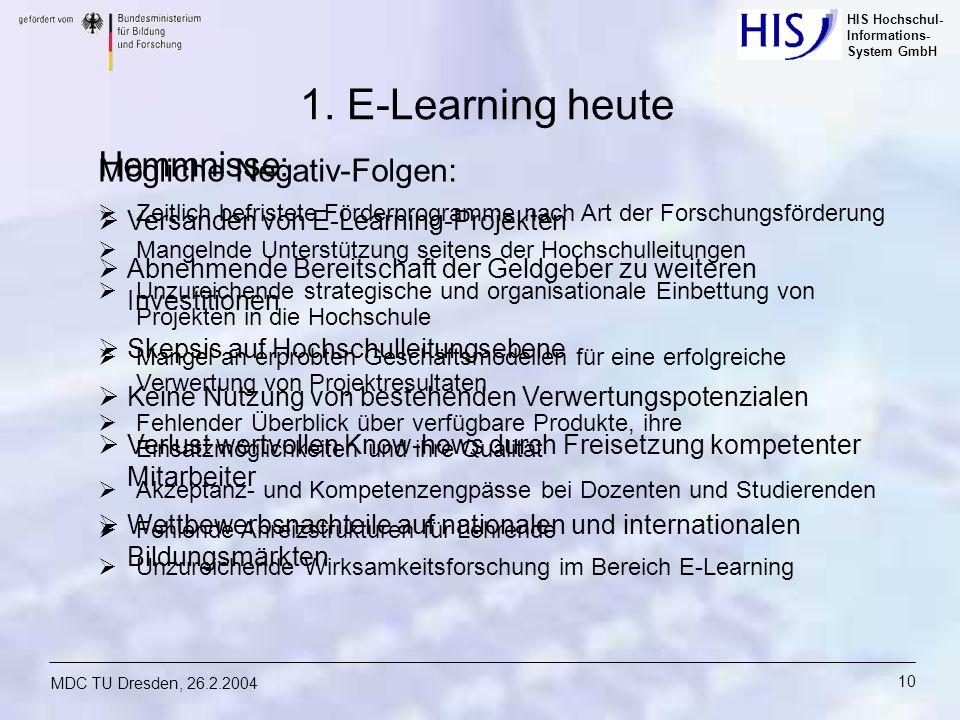 HIS Hochschul- Informations- System GmbH MDC TU Dresden, 26.2.2004 10 Mögliche Negativ-Folgen: Versanden von E-Learning-Projekten Abnehmende Bereitsch