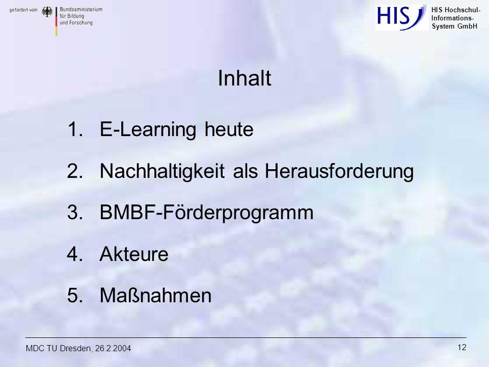 HIS Hochschul- Informations- System GmbH MDC TU Dresden, 26.2.2004 12 Inhalt 1.E-Learning heute 2.Nachhaltigkeit als Herausforderung 3.BMBF-Förderprog