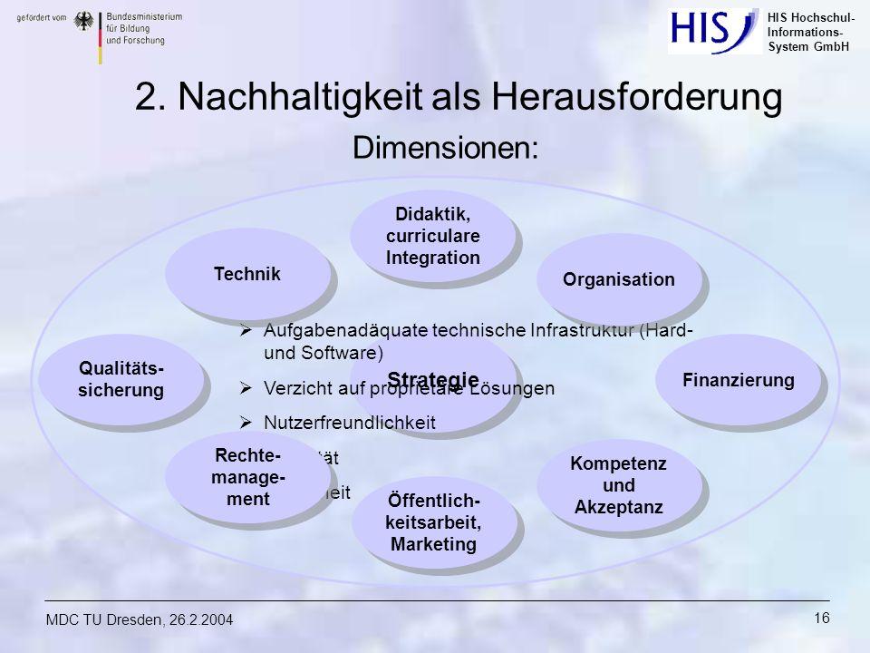 HIS Hochschul- Informations- System GmbH MDC TU Dresden, 26.2.2004 16 Strategie Aufgabenadäquate technische Infrastruktur (Hard- und Software) Verzich