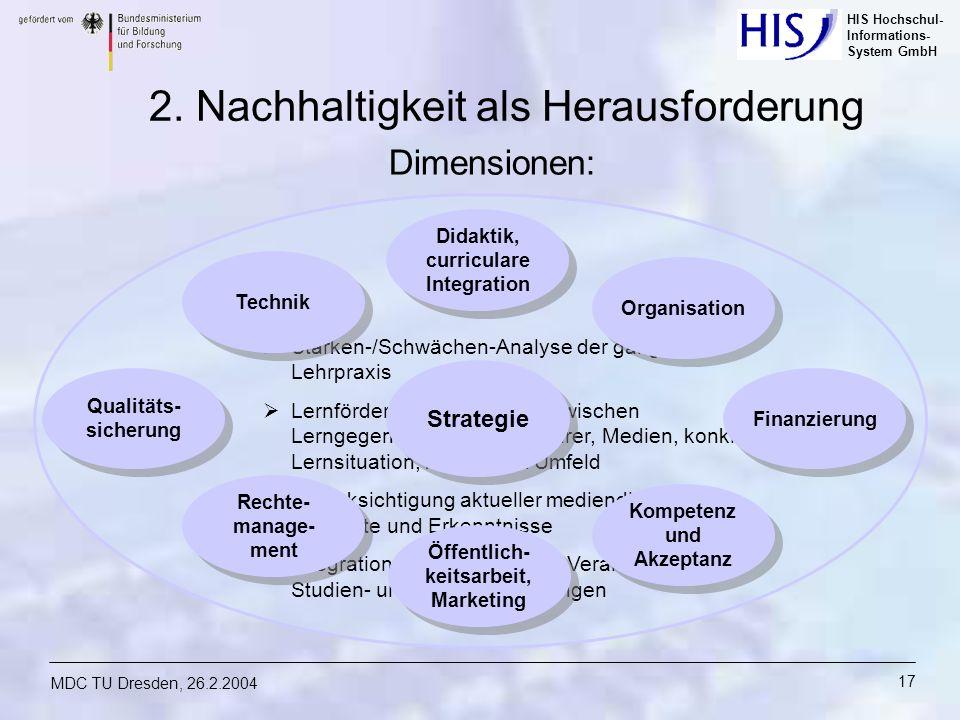 HIS Hochschul- Informations- System GmbH MDC TU Dresden, 26.2.2004 17 Stärken-/Schwächen-Analyse der gängigen Lehrpraxis Lernförderliche Vermittlung z