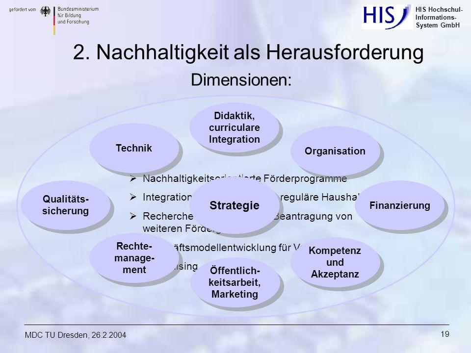 HIS Hochschul- Informations- System GmbH MDC TU Dresden, 26.2.2004 19 Nachhaltigkeitsorientierte Förderprogramme Integration von E-Learning in regulär