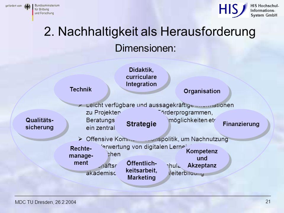 HIS Hochschul- Informations- System GmbH MDC TU Dresden, 26.2.2004 21 Leicht verfügbare und aussagekräftige Informationen zu Projekten, Produkten, För