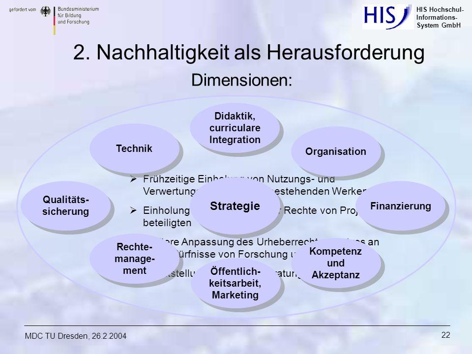 HIS Hochschul- Informations- System GmbH MDC TU Dresden, 26.2.2004 22 Frühzeitige Einholung von Nutzungs- und Verwertungsrechten an vorbestehenden Wer