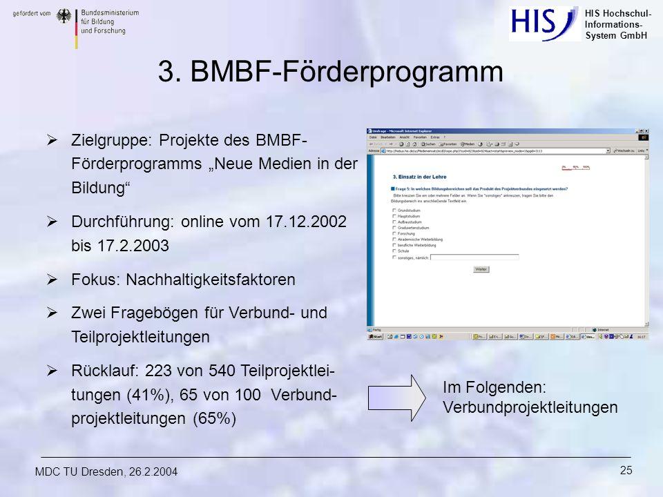 HIS Hochschul- Informations- System GmbH MDC TU Dresden, 26.2.2004 25 3. BMBF-Förderprogramm Zielgruppe: Projekte des BMBF- Förderprogramms Neue Medie