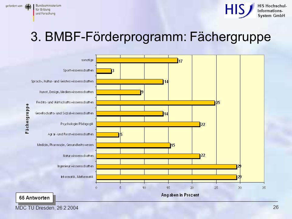 HIS Hochschul- Informations- System GmbH MDC TU Dresden, 26.2.2004 26 3. BMBF-Förderprogramm: Fächergruppe 65 Antworten