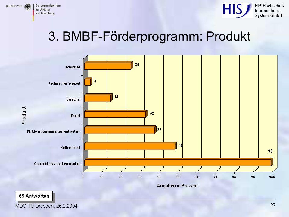 HIS Hochschul- Informations- System GmbH MDC TU Dresden, 26.2.2004 27 65 Antworten 3. BMBF-Förderprogramm: Produkt