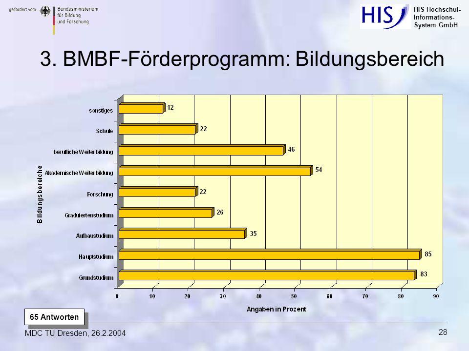 HIS Hochschul- Informations- System GmbH MDC TU Dresden, 26.2.2004 28 65 Antworten 3. BMBF-Förderprogramm: Bildungsbereich