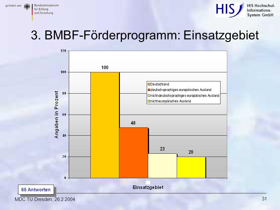 HIS Hochschul- Informations- System GmbH MDC TU Dresden, 26.2.2004 31 65 Antworten 3. BMBF-Förderprogramm: Einsatzgebiet