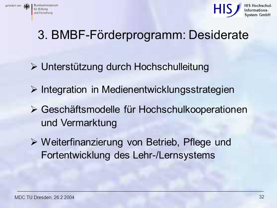HIS Hochschul- Informations- System GmbH MDC TU Dresden, 26.2.2004 32 3. BMBF-Förderprogramm: Desiderate Unterstützung durch Hochschulleitung Integrat