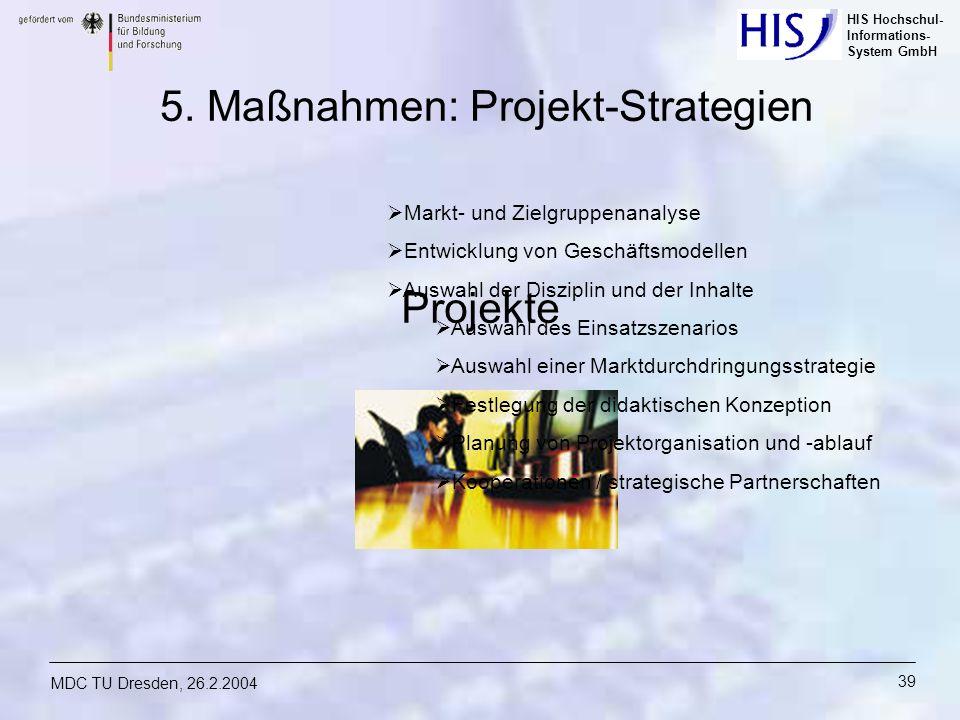 HIS Hochschul- Informations- System GmbH MDC TU Dresden, 26.2.2004 39 5. Maßnahmen: Projekt-Strategien Projekte Markt- und Zielgruppenanalyse Entwickl