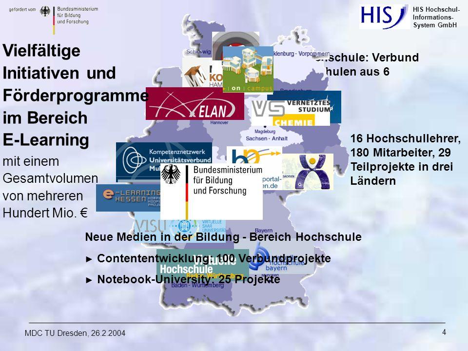 HIS Hochschul- Informations- System GmbH MDC TU Dresden, 26.2.2004 4 Virtuelle Fachhochschule: Verbund von 7 Fachhochschulen aus 6 Bundesländern Vielf
