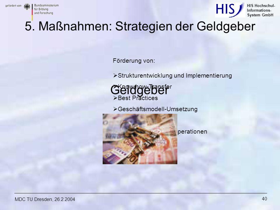 HIS Hochschul- Informations- System GmbH MDC TU Dresden, 26.2.2004 40 Förderung von: Strukturentwicklung und Implementierung Know-how-Transfer Best Pr