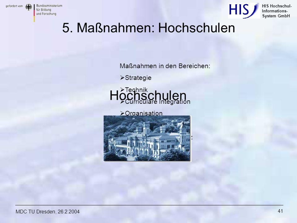 HIS Hochschul- Informations- System GmbH MDC TU Dresden, 26.2.2004 41 Maßnahmen in den Bereichen: Strategie Technik Curriculare Integration Organisati