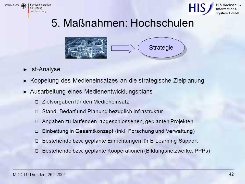 HIS Hochschul- Informations- System GmbH MDC TU Dresden, 26.2.2004 42 5. Maßnahmen: Hochschulen Ist-Analyse Koppelung des Medieneinsatzes an die strat