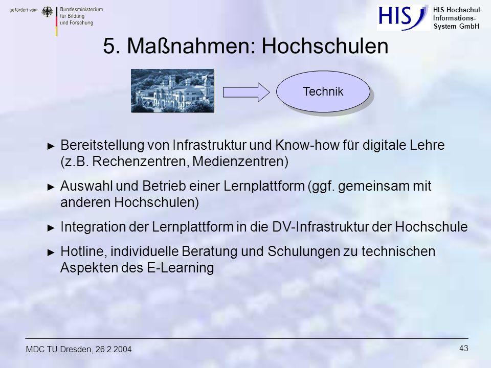 HIS Hochschul- Informations- System GmbH MDC TU Dresden, 26.2.2004 43 5. Maßnahmen: Hochschulen Bereitstellung von Infrastruktur und Know-how für digi