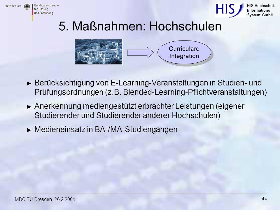HIS Hochschul- Informations- System GmbH MDC TU Dresden, 26.2.2004 44 5. Maßnahmen: Hochschulen Berücksichtigung von E-Learning-Veranstaltungen in Stu