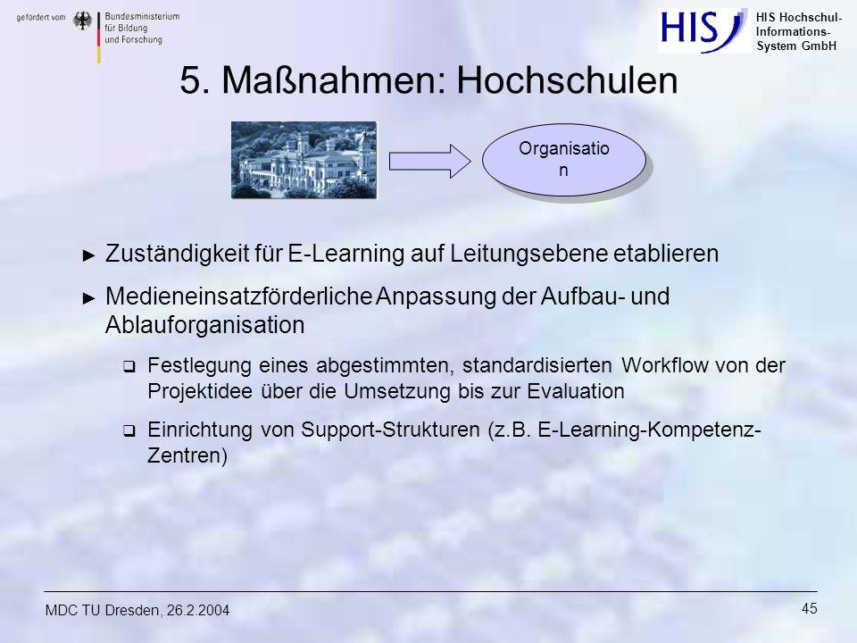 HIS Hochschul- Informations- System GmbH MDC TU Dresden, 26.2.2004 45 5. Maßnahmen: Hochschulen Zuständigkeit für E-Learning auf Leitungsebene etablie