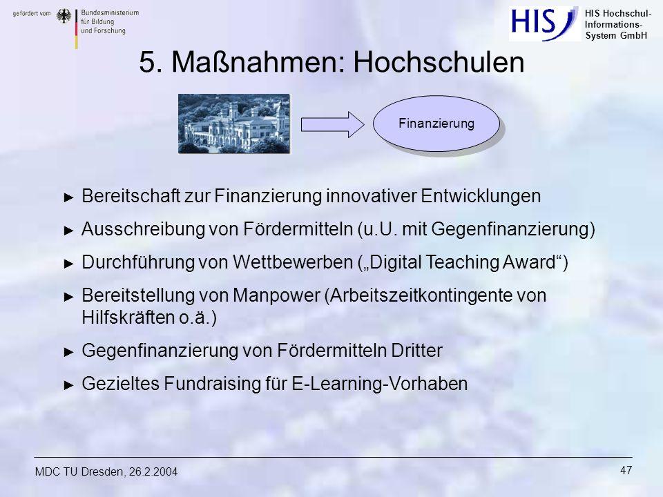 HIS Hochschul- Informations- System GmbH MDC TU Dresden, 26.2.2004 47 5. Maßnahmen: Hochschulen Bereitschaft zur Finanzierung innovativer Entwicklunge