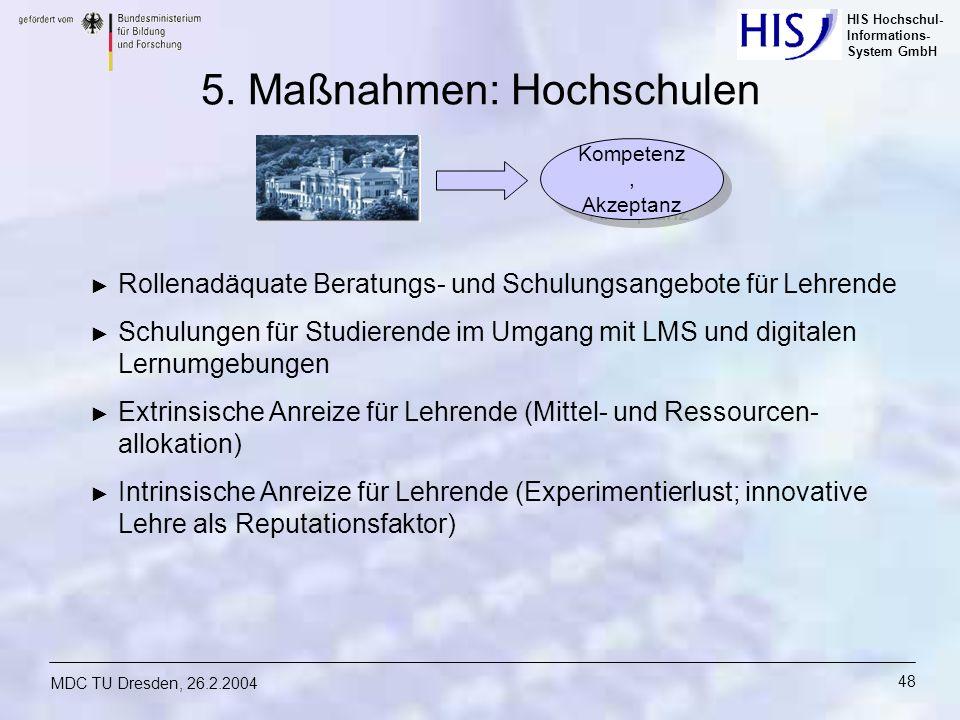 HIS Hochschul- Informations- System GmbH MDC TU Dresden, 26.2.2004 48 5. Maßnahmen: Hochschulen Rollenadäquate Beratungs- und Schulungsangebote für Le