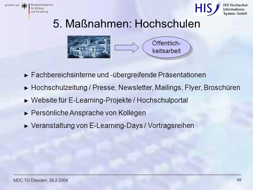 HIS Hochschul- Informations- System GmbH MDC TU Dresden, 26.2.2004 49 5. Maßnahmen: Hochschulen Fachbereichsinterne und -übergreifende Präsentationen
