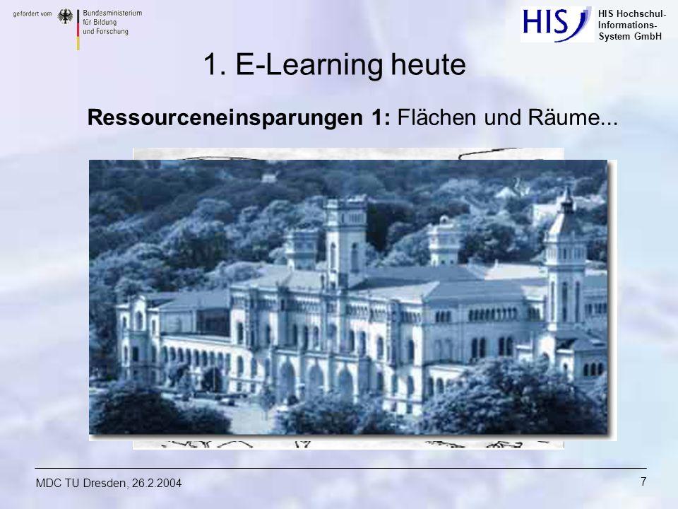 HIS Hochschul- Informations- System GmbH MDC TU Dresden, 26.2.2004 7 Ressourceneinsparungen 1: Flächen und Räume... 1. E-Learning heute
