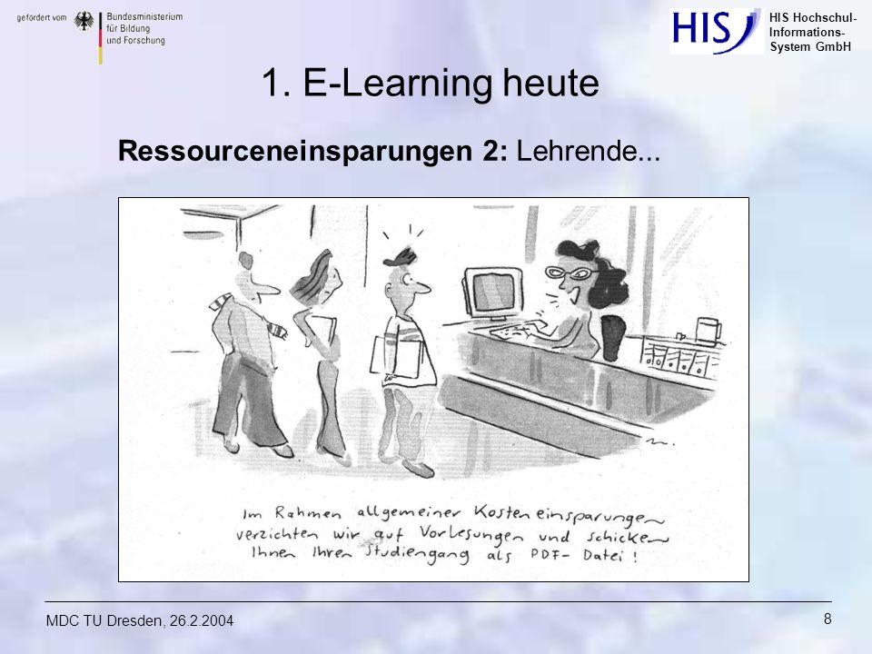 HIS Hochschul- Informations- System GmbH MDC TU Dresden, 26.2.2004 8 Ressourceneinsparungen 2: Lehrende... 1. E-Learning heute