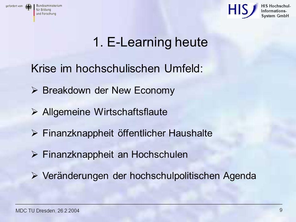 HIS Hochschul- Informations- System GmbH MDC TU Dresden, 26.2.2004 9 1. E-Learning heute Krise im hochschulischen Umfeld: Breakdown der New Economy Al