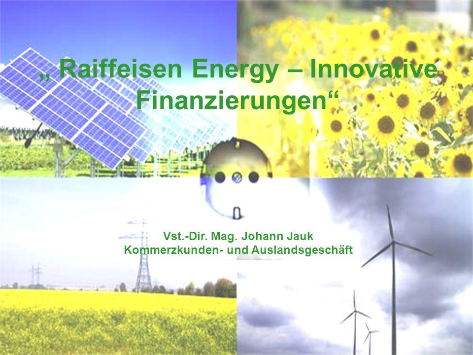 Raiffeisen Energy – Innovative Finanzierungen Vst.-Dir. Mag. Johann Jauk Kommerzkunden- und Auslandsgeschäft