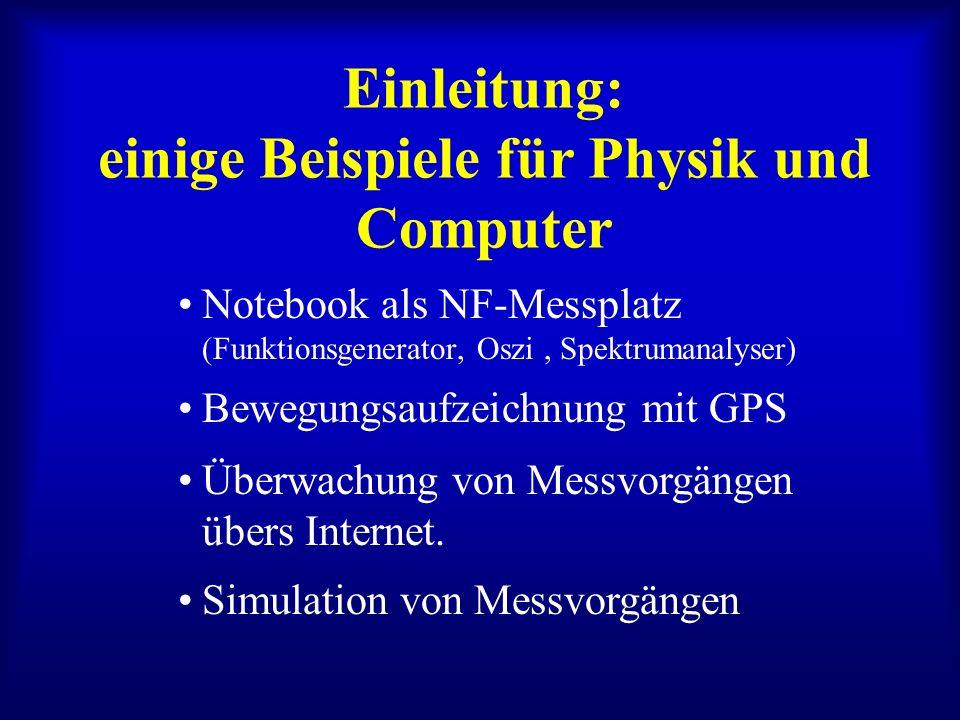 Einleitung: einige Beispiele für Physik und Computer Notebook als NF-Messplatz (Funktionsgenerator, Oszi, Spektrumanalyser) Bewegungsaufzeichnung mit