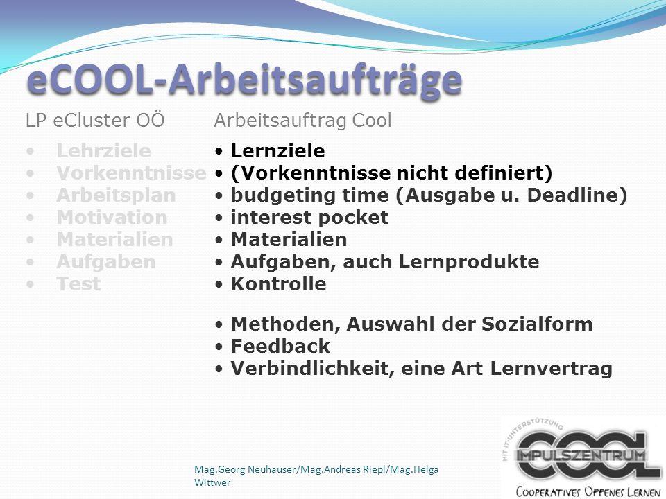 Mag.Georg Neuhauser/Mag.Andreas Riepl/Mag.Helga Wittwer Arbeitsauftrag Cool Lernziele (Vorkenntnisse nicht definiert) budgeting time (Ausgabe u. Deadl