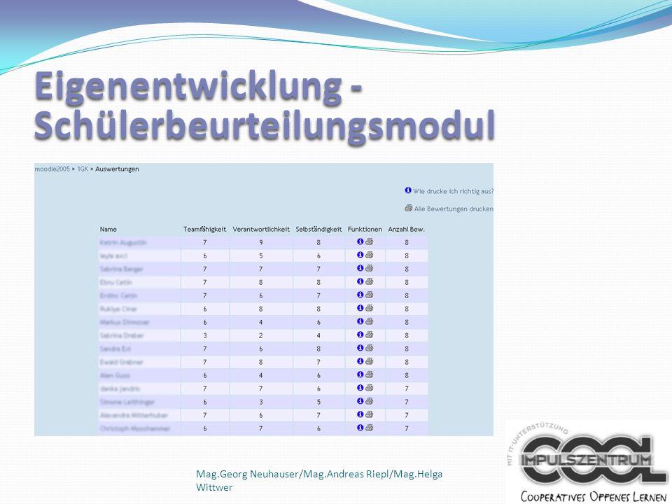 Mag.Georg Neuhauser/Mag.Andreas Riepl/Mag.Helga Wittwer Eigenentwicklung - Schülerbeurteilungsmodul