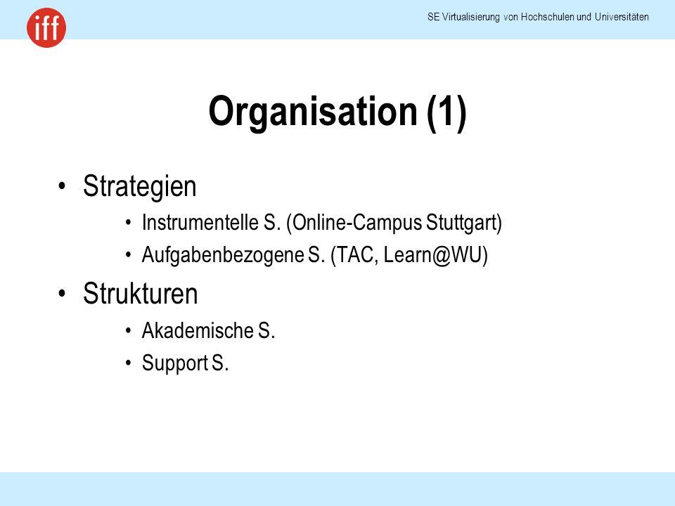 SE Virtualisierung von Hochschulen und Universitäten Organisation (1) Strategien Instrumentelle S.