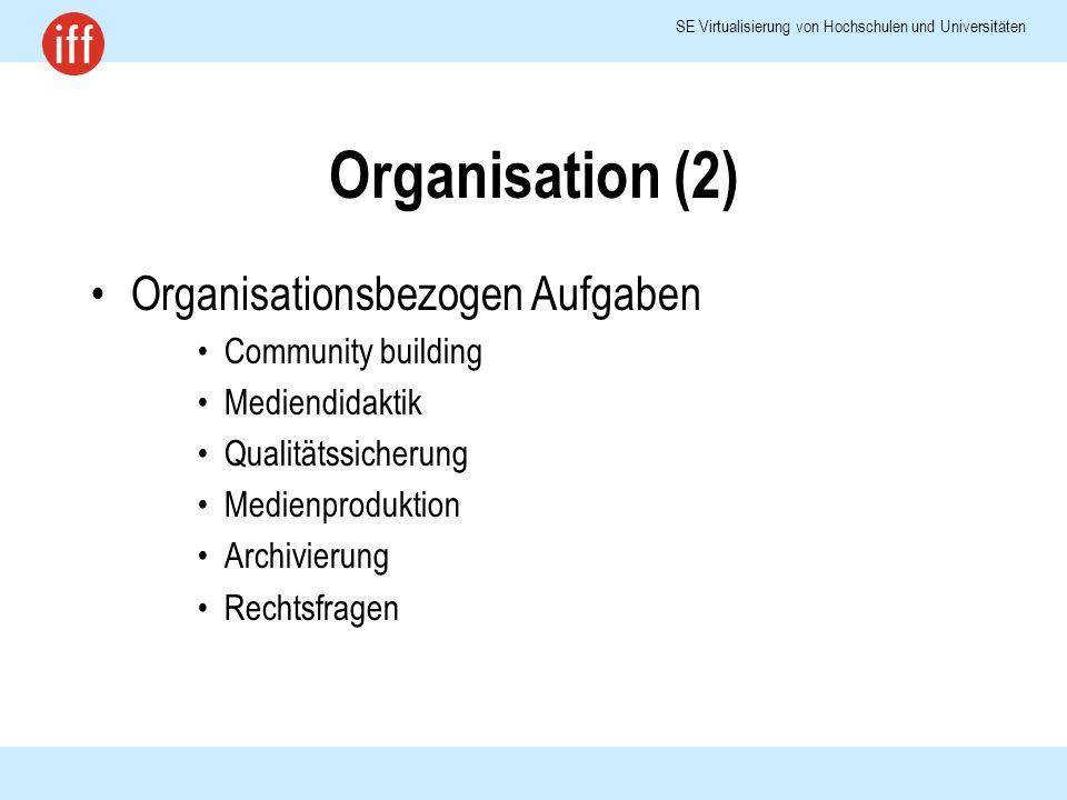 SE Virtualisierung von Hochschulen und Universitäten Organisation (2) Organisationsbezogen Aufgaben Community building Mediendidaktik Qualitätssicherung Medienproduktion Archivierung Rechtsfragen